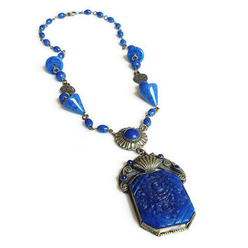 Art Deco Necklace Czech Glass Cobalt Blue Lapis Bead Floral Silver Tone Antique Jewelry