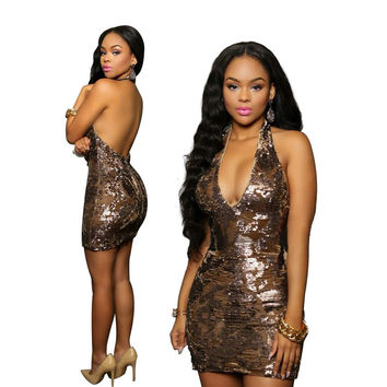 Sequined Plunging Halter Party Dress