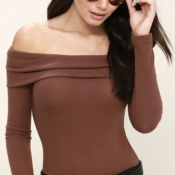 Sure and Certain Marsala Off-the-Shoulder Sweater Top