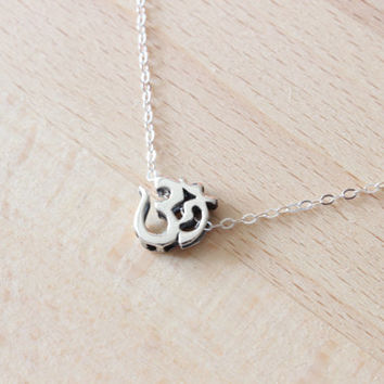 Sterling Silver Ohm Necklace- Ohm Necklace- Namaste Yoga Ohm Jewelry, Om Charm Necklace, Tiny Om Charm, Spiritual Yoga Jewelry,Yoga Necklace