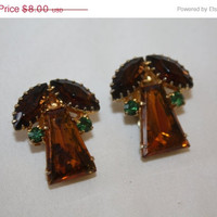 Easter Sale Vintage Amber Rhinestone Earrings Clip On Chunky 1950s Estate  Jewelry