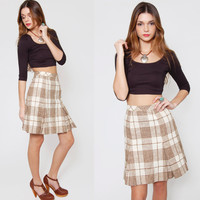 Vintage 70s PLAID Pleated Mini Skirt Mocha & Cream SCHOOLGIRL Wool Indie XS/S