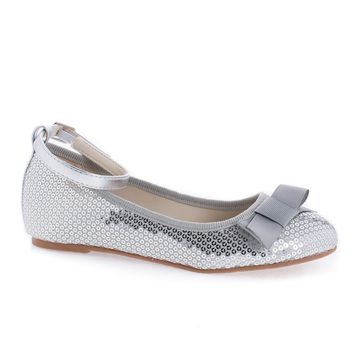 Bahama Silver Sequins Children's Toddler Bow Slip On Ankle Cuff Sequins Flats