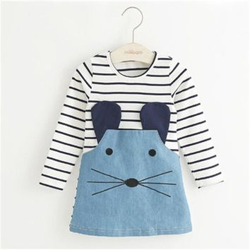 Striped Patchwork Character Denim Dress for Girls