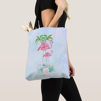 Pink Flamingo Momma & Baby with Palm Trees Tote Bag