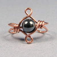 Celtic Knot Copper Ear Cuff  Hematite or Choice of 56 beads