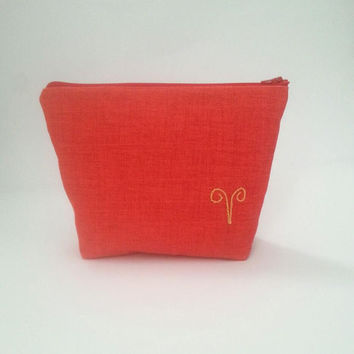 personalized cosmetic bag embroidered zodiac signs, red makeup bag, zipper pouch
