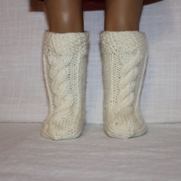 hand knit socks, ivory knee high cable socks, 18 inch doll clothes, american girl, maplelea