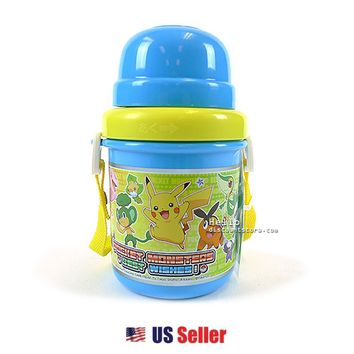 Pokemon Pikachu Water Bottle with CUP Shoulder Strap 380ml plastic lightweight $7.99