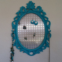 Baroque Frame, Scatter Frame, Hanging Jewelry Organizer,  Earring holder, Turquoise
