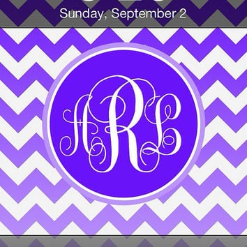 Custom Colors Ombre Chevron iPhone Monogram Wallpaper Lock Screen