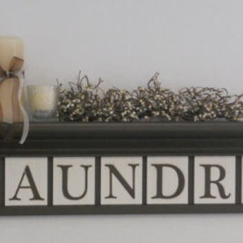 "Laundry Room Wall Decor includes 36"" Brown Shelf and 9 letters for LAUNDRY, Washboard and Bucket Painted Chocolate Brown Home Decor"