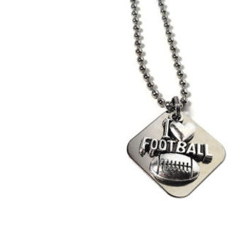 I Love Football Necklace Sports Charm Custom Stamped Engraved Heart Womens Mens Unisex Silver Metal American Football Player Gift Birthday
