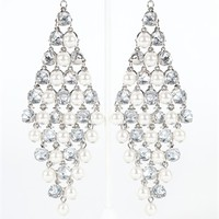 Diamond Shape Long Earring with Pearls and Stones