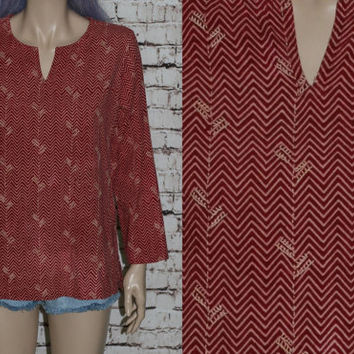 70s Tunic Top Chevron Print Ethnic Gypsy Boho Festival India Earthy Cotton Shirt Blouse XS S M Wine Red Pink Beige