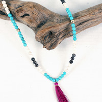 Tatum Tassel Necklace, Violet