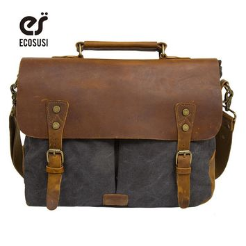 ECOSUSI New Men's Vintage Handbag PU Leather Shoulder Bag Messenger Laptop Briefcase Satchel Bag Fit 14 inch Laptop