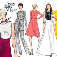 Vogue 8318 Sewing Pattern Retro 70s Colorblock Party Dress Gown Tunic Straight Leg Pants Plus Size Full Figure Bust 40