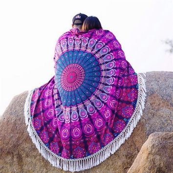 Women Beach Gypsy Bikini Cover Up Scarf Round Beach Towel Bohemia Scarves Cotton shawl Table Cloth Mat Cloth