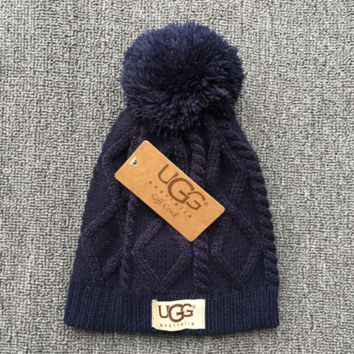 Winter Autumn Navy Blue UGG Soft Cotton knitted Beanies Hat