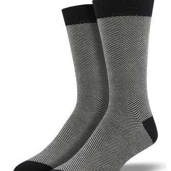 Men's Bamboo Black Herringbone Socks