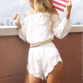Women Lady Boho Beach Sexy Off Shoulder High Quality Cute Crochet Chiffon Clubwear Long Sleeve Shorts Playsuit Jumpsuit Romper