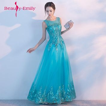 Beading Long Sleeves Evening Dresses Tulle peacock blue stage dress  twinkling Neckline Party Designs Prom Gown vestido de festa