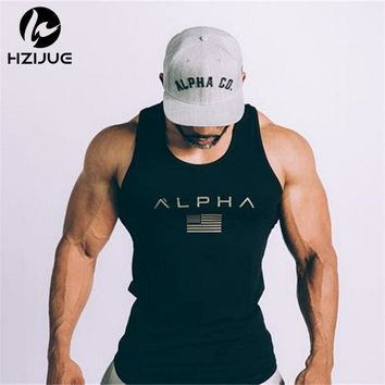 2017 Men Summer gyms Fitness bodybuilding Hooded Tank Top fashion mens Crossfit clothing Tight breathable sleeveless shirts Vest