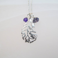 Feather Charm necklace silver tone and purple glass beads