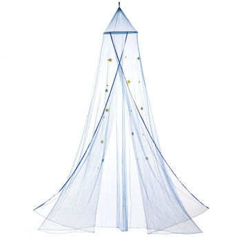 Princess Bed Canopy, Polyester Girls Canopy Netting With Stars, Blue