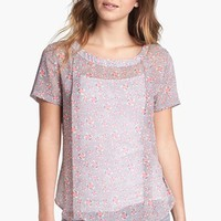 Pleione Pleated Print Woven Blouse | Nordstrom