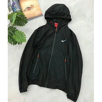 """NIKE"" Popular Casual Classic Reflective Hooded Zipper Cardigan Sweatshirt Jacket Coat Windbreaker Sportswear Black I-YF-MLBKS"