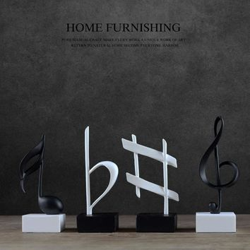 Creative Resin Home Decoration Artesanato Silver Living Room TV Cabinet Musical Note Ornament Unique Resina Manualidades Gift