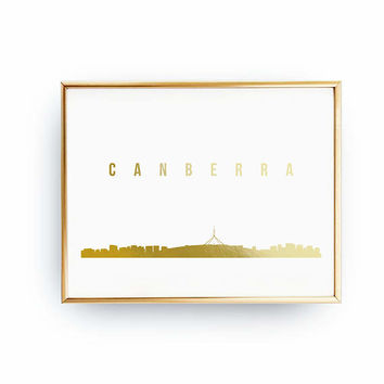 Canberra Skyline, Canberra Print, Real Gold Foil Print, Office Decor, Illustration Art Print, Office Art, Canberra Art, Australian Cityscape