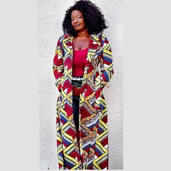 Emeka  Double-Breasted Belted African Print Trench Coat