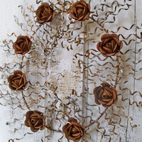 Rusty metal wall wreath with rusted roses recycled industrial farm house home decor Anita Spero