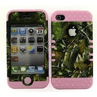 BUMPER CASE FOR IPHONE 4 SOFT LIGHT PINK SKIN HARD FOREST CAMO GREEN LEAVES COVER
