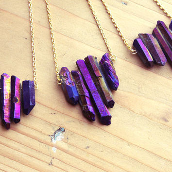Raw Purple Flame Rainbow Aura Quartz Spike by kissthefuture