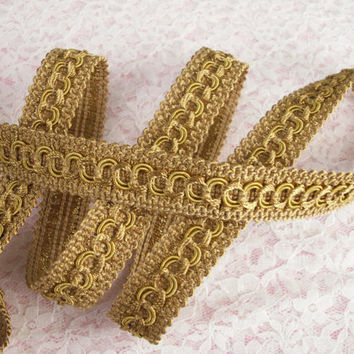 "Gold Woven Circle Braid Trim, 3/4"" Wide, Home Decor, Upholstery Trim, Decorative Pillows, Costumes, Passementerie Trim, 2 YARDS"