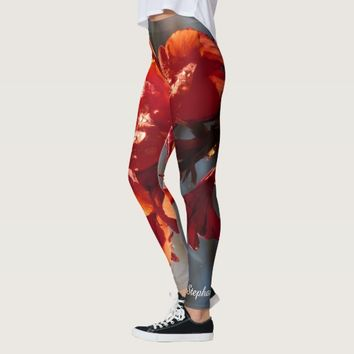 Rain on Orange Flowers Personalized Name Leggings