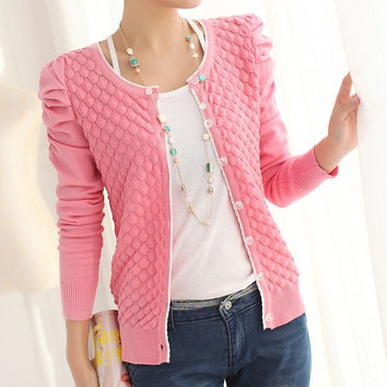 2014 Autumn Women'S Cardigan O-Neck Puff Sleeve Pearl Buckle All-Match Solid Color Knitted Sweater Outerwear Jacket Cardigans = 1931869444