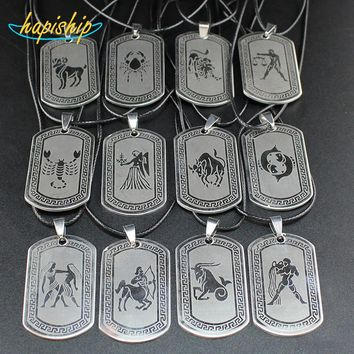 Greek Zodiac Dogtag Necklace