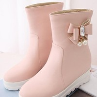 New Pink Round Toe Within The Higher Rhinestone Bow Casual Boots