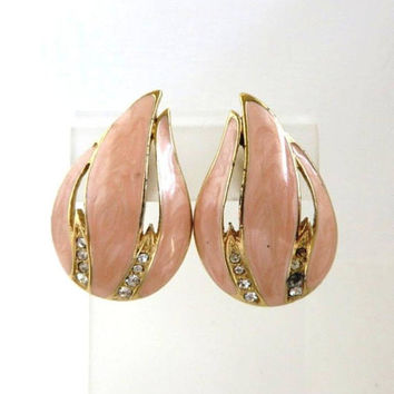 Trifari Pink Enamel Earrings, Vintage Pink, Gold Rhinestone Clip-on Earrings, Signed Trifari Jewelry