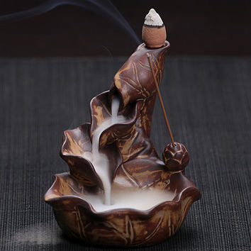 Chinese Pottery Crafts Creative Home Decor Lotus Pond Smoke Back Flow Cone Incense Sticks Burner Censer Free Shipping E