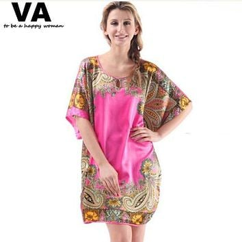 VA Big Large Plus Size Silk Robe Nightgowns Womens Gowns Stain Sleepwear Nighty Chemise Wear Home Clothing Costume Dress L001