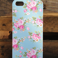 iPhone 5 Vintage Floral Baby Blue Case WITH FREE GIFT