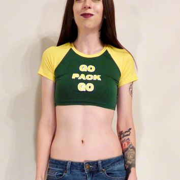 Go Pack Go Short Sleeve Raglan Green and Yellow Crop Top