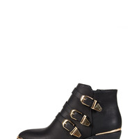 Golden Tipped Tri-Buckle Ankle Booties - Black /