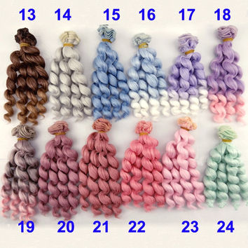 factory supply 1piece 15cm  thick doll hairs  1/3 /1/4 1/6 bjd curly BJD wigs doll